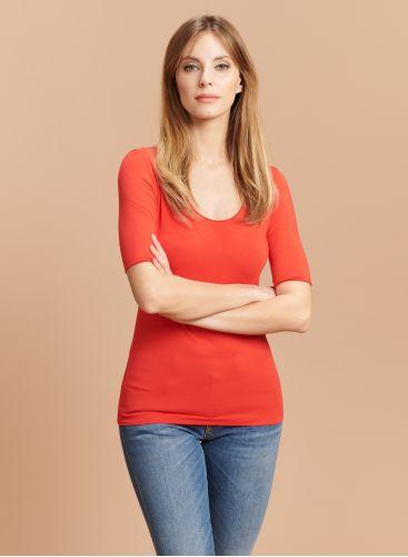 T-shirt col U manches coudes