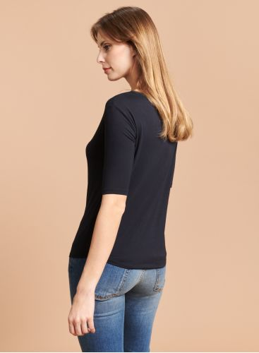 Boxy boat neck T-shirt with elbow sleeves