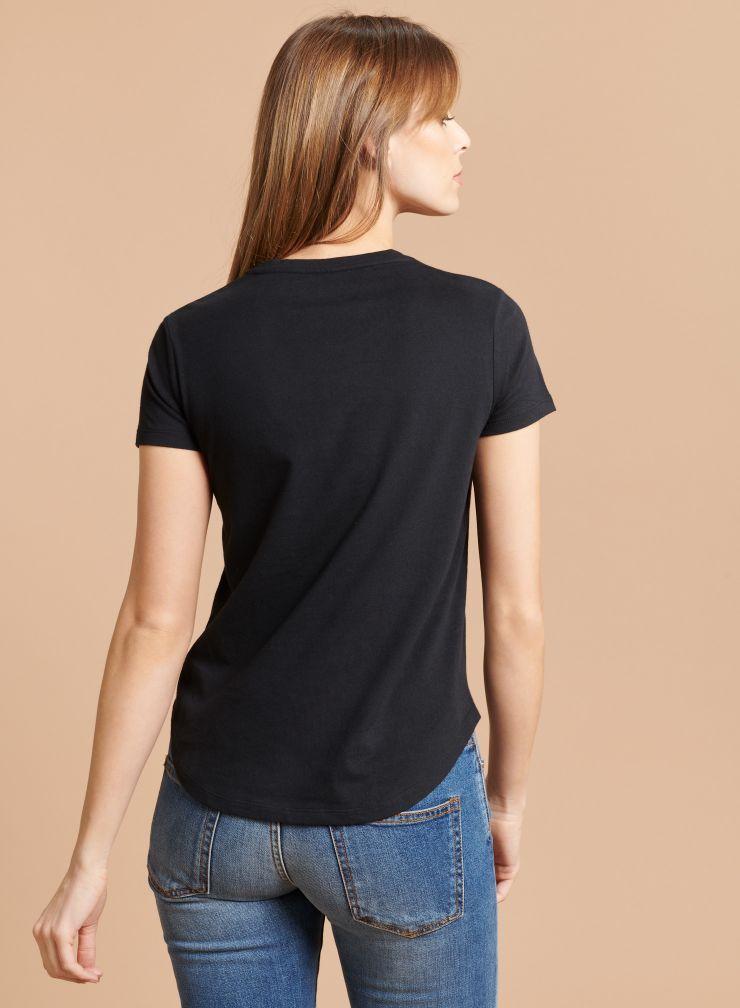 T-shirt col rond empiècement cuir