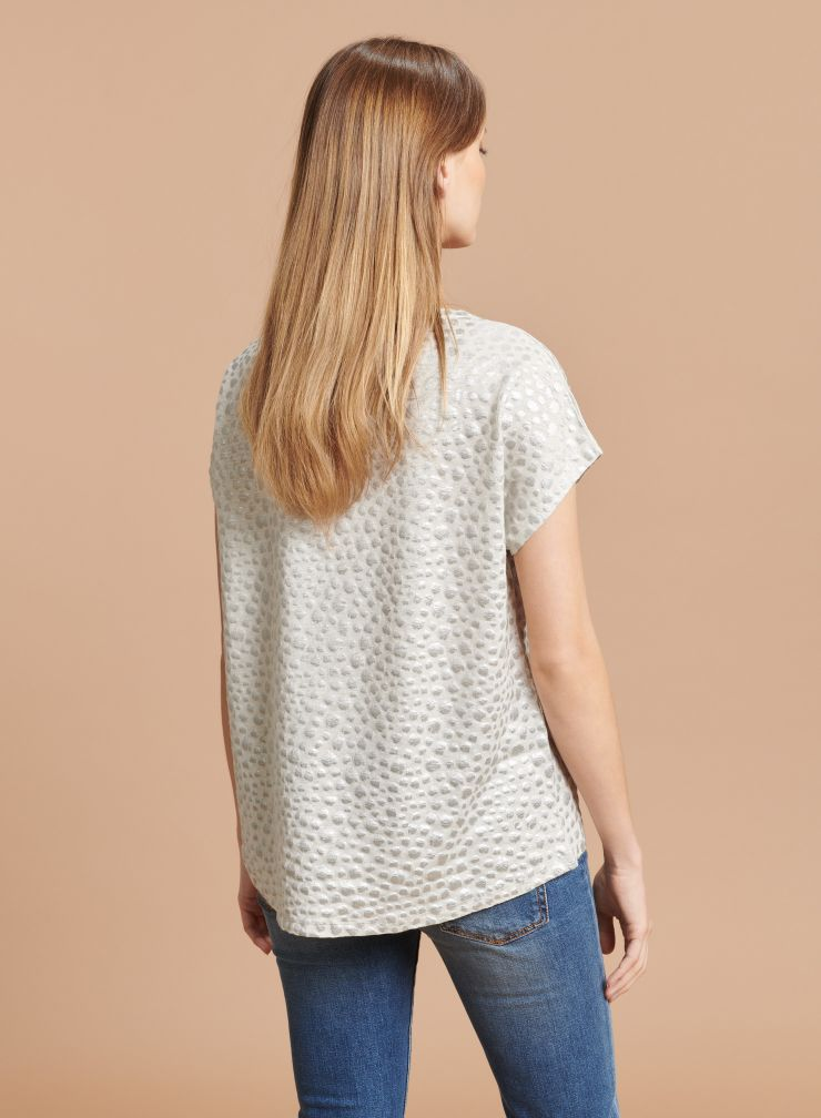 T-shirt boxy col V imprimé léopard