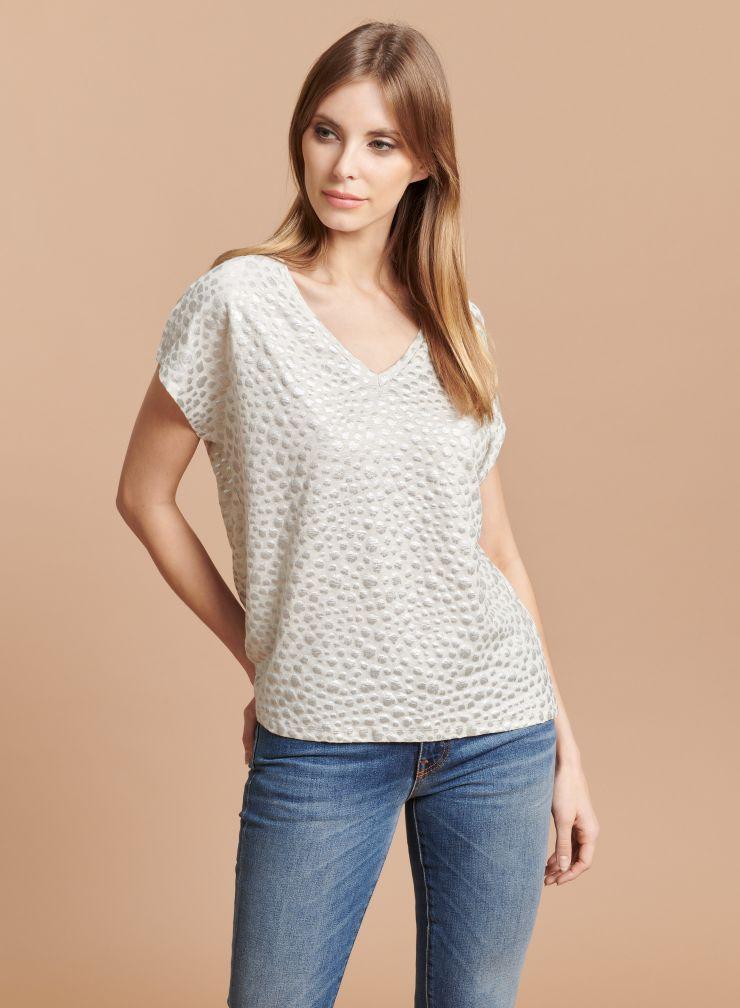 Leopard printed boxy T-shirt
