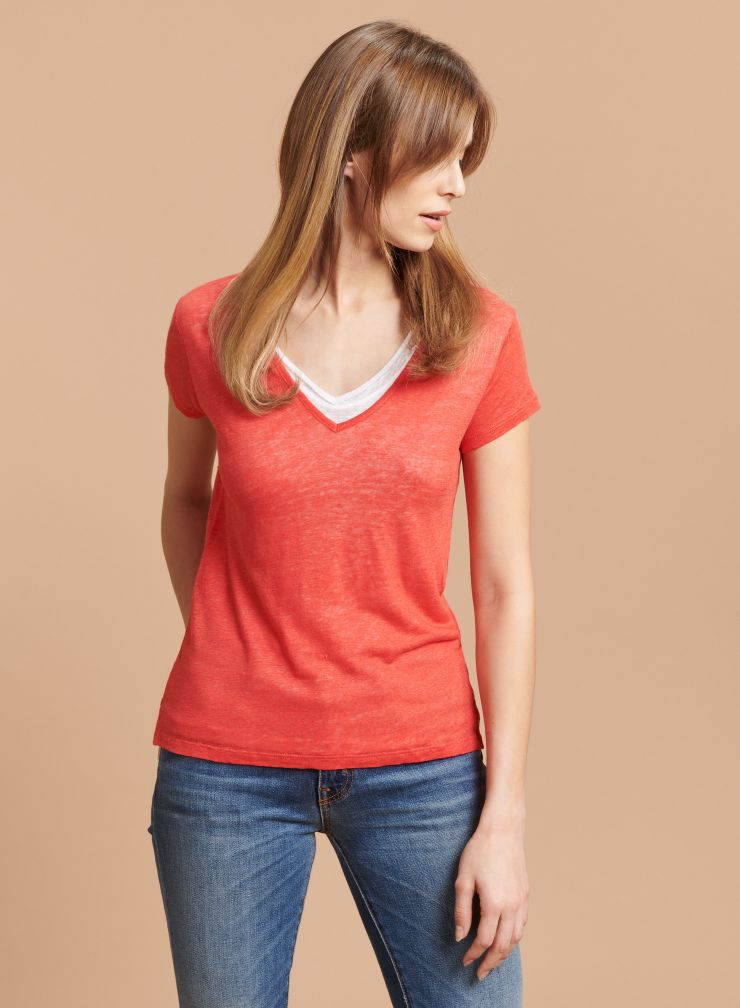 T-shirt double col V