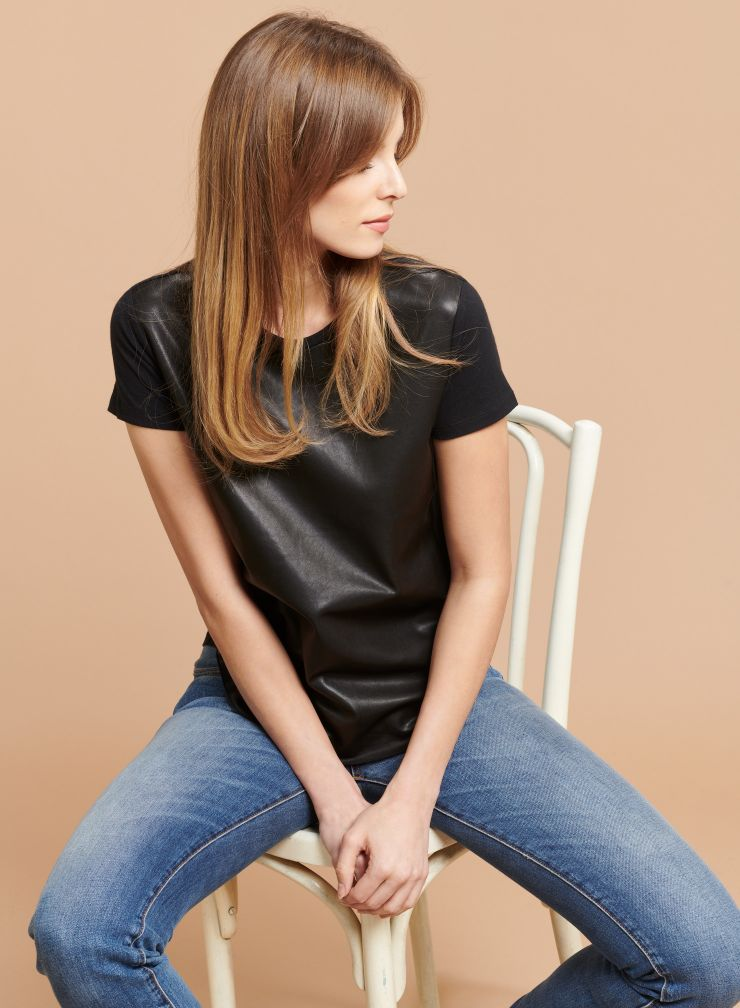 Round neck leather panel T-shirt