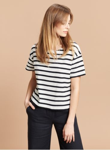 Sponge round neck striped boxy T-shirt