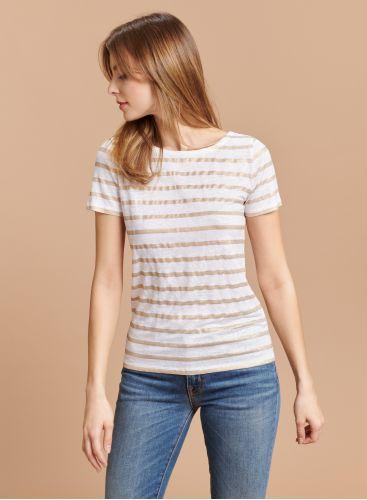 Boat neck shimmering T-shirt
