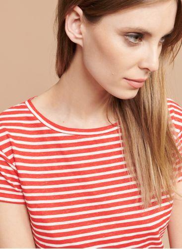 Boat neck striped boxy T-shirt