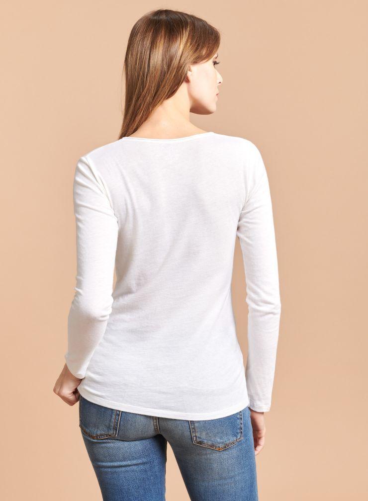 T-shirt col U finition roulottée Carmen