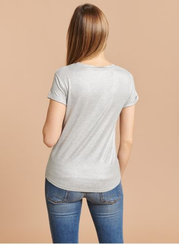Round neck shimmering T-shirt