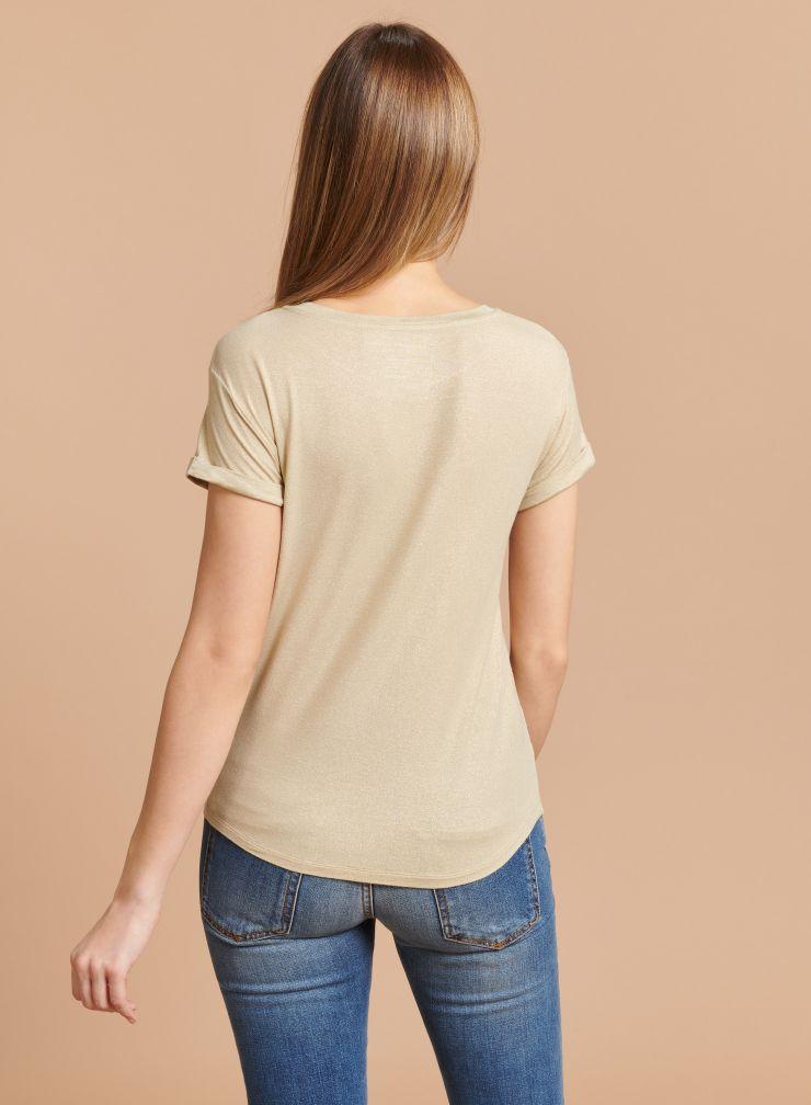 T-shirt col rond métallisé