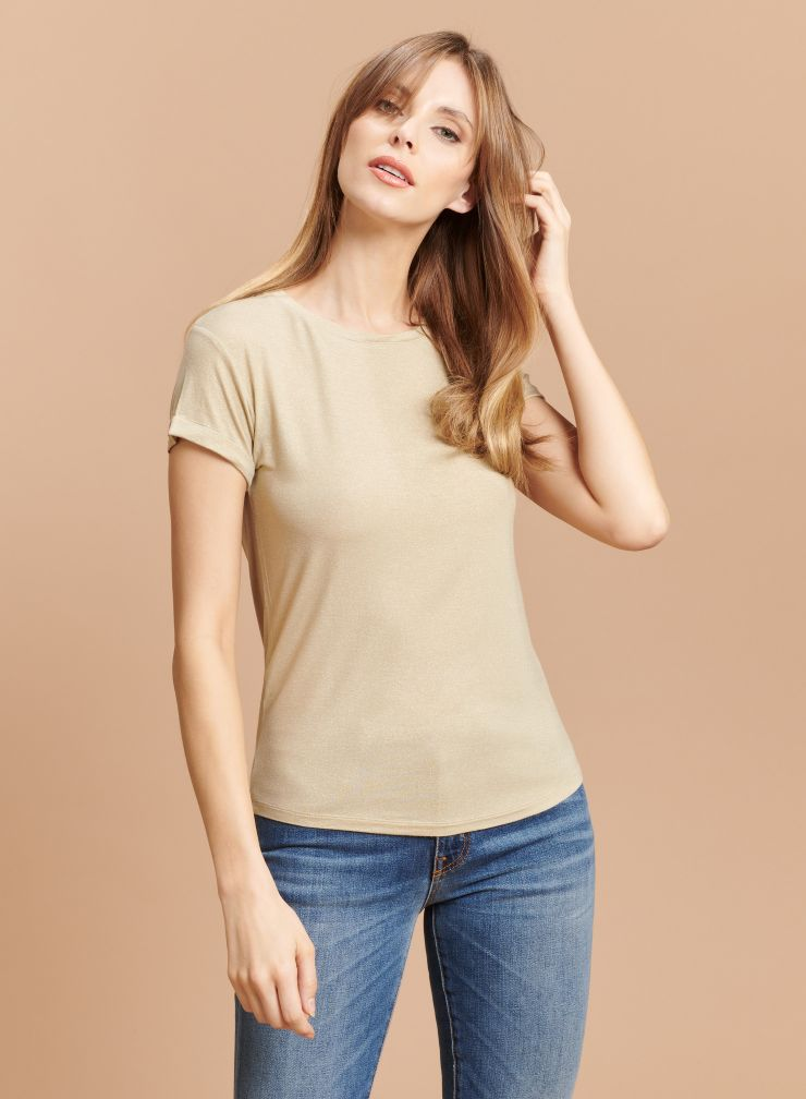 Round neck shimmering T-shirt