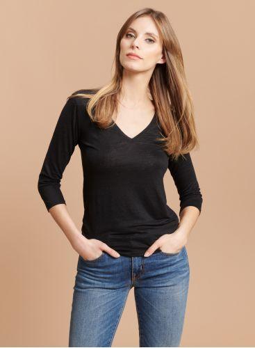 T-shirt col V manches 3/4