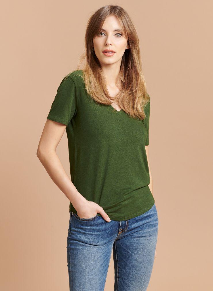 T-shirt col V face & dos