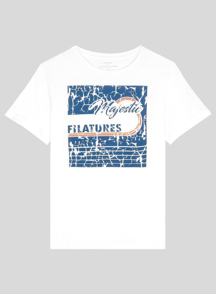 T-shirt boyfriend imprimé col rond