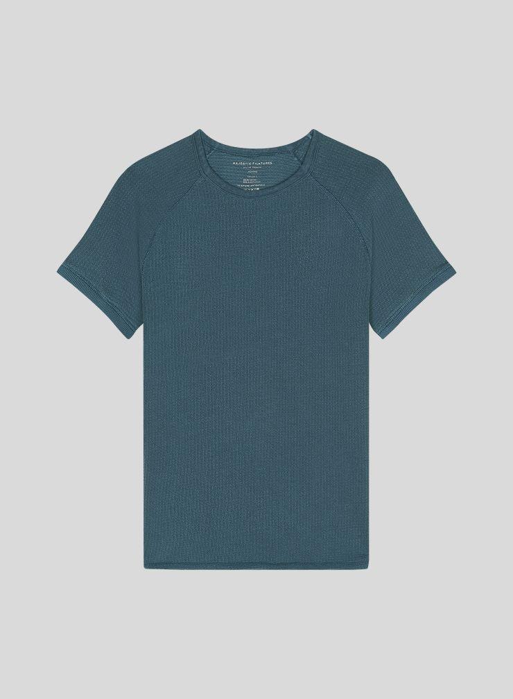 T-shirt col rond Homme maille alvéolée teinture artisanale