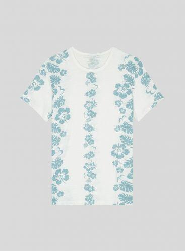 T-shirt col rond Homme imprimé hibiscus