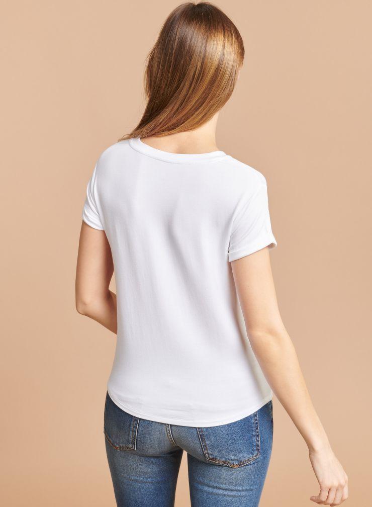 T-shirt col rond manches à revers