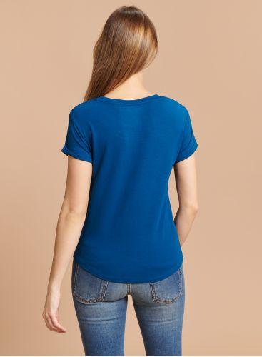 Round neck T-shirt with cuffs