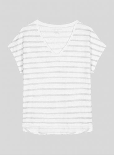 T-shirt col V marinière métallisée
