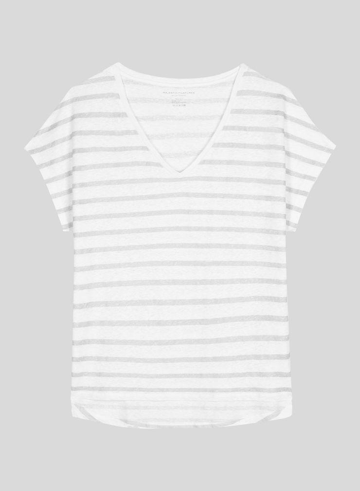Shimmering sailor V-neck T-shirt