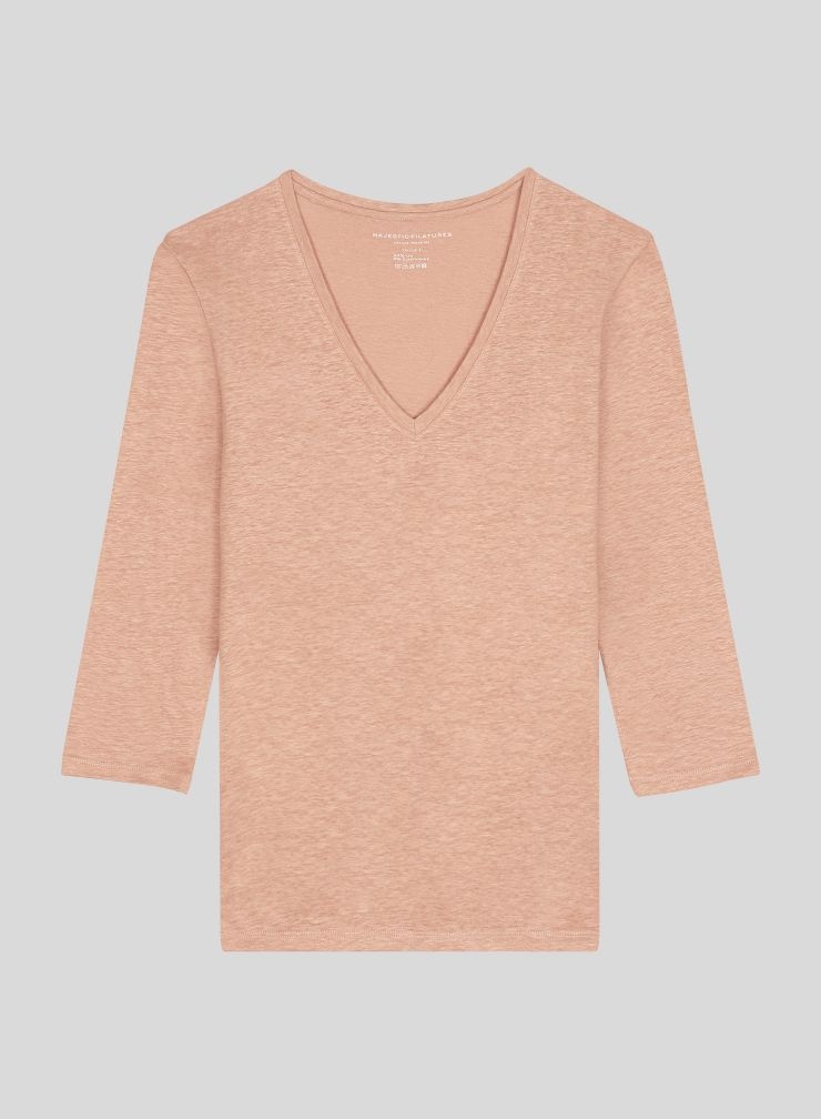 V-neck 3/4 sleeved T-shirt