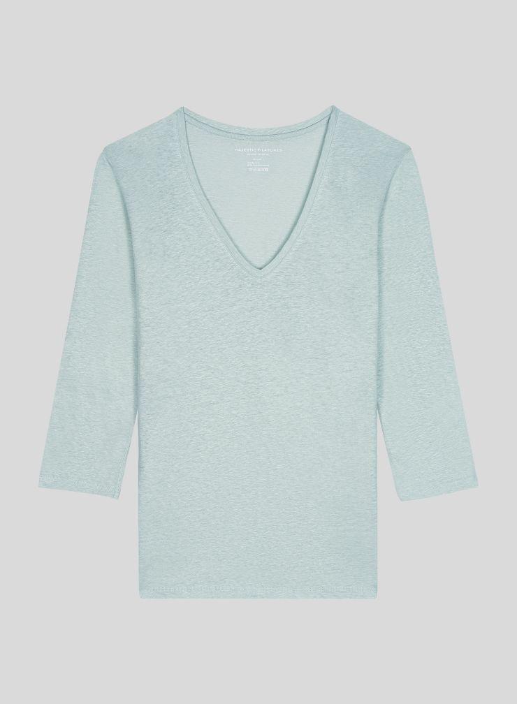 T-shirt col V manches 3/6