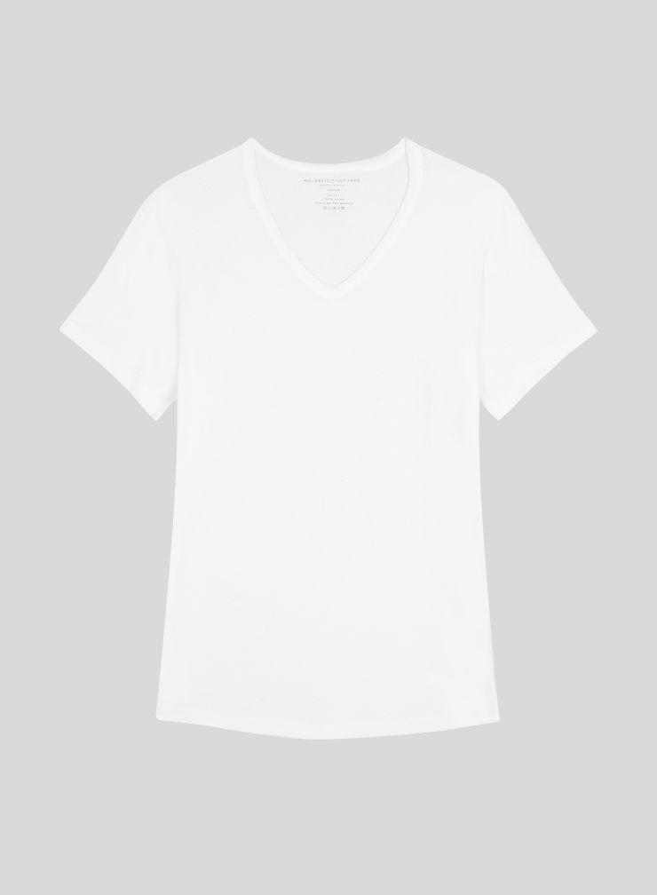 T-shirt col V base arrondie