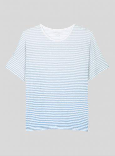 T-shirt boxy col rond marinière