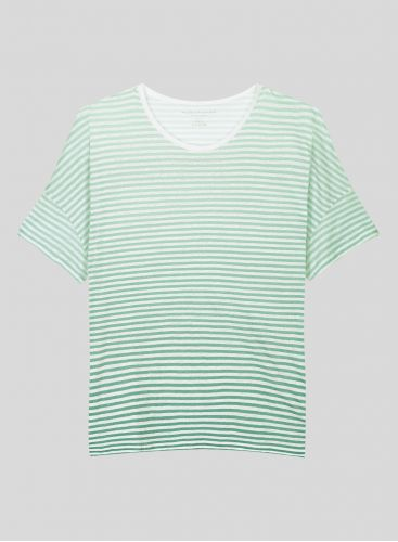 Striped boxy round neck T-shirt