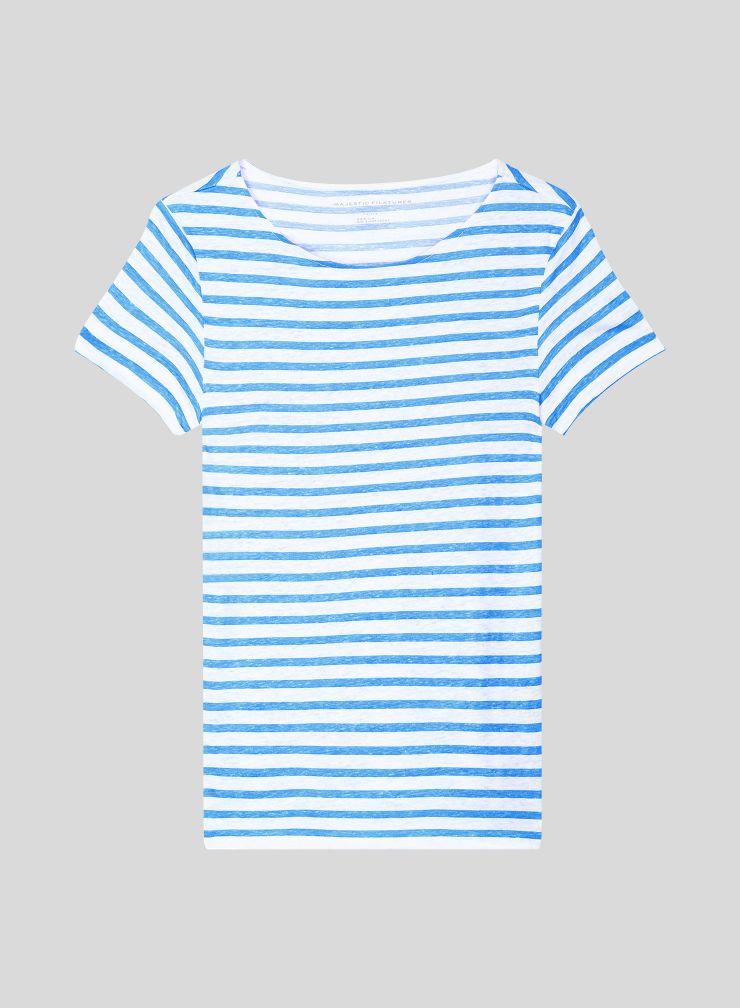 T-shirt col bateau marinière