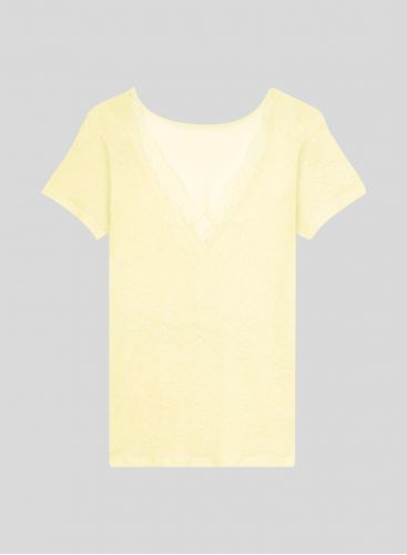 Boat neck T-shirt with lace back