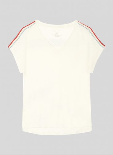 Boxy V-neck T-shirt with braided shoulders