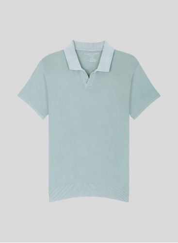 Men's hand dyed polo Shirt with ribbed finish