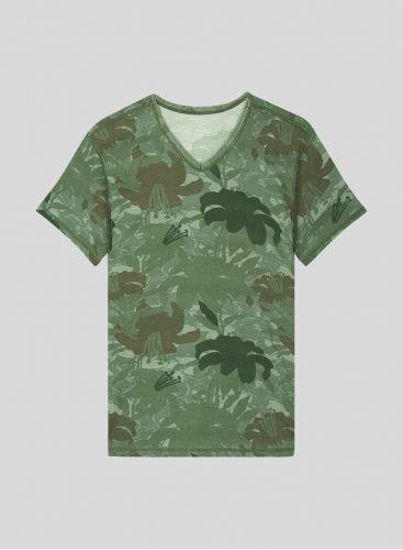 T-shirt col V Homme imprimé camouflage