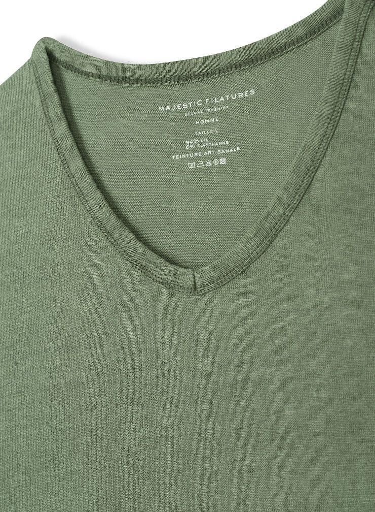 T-shirt col V Homme teinture artisanale