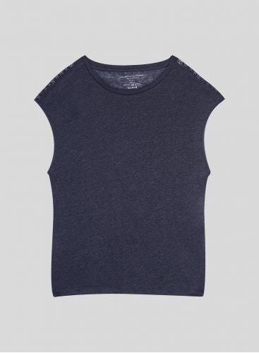 Round neck T-shirt with lace panel