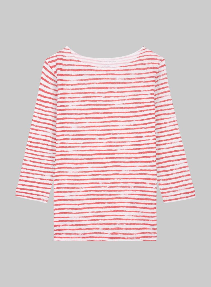 Sailor boat neck 3/4 sleeved T-shirt
