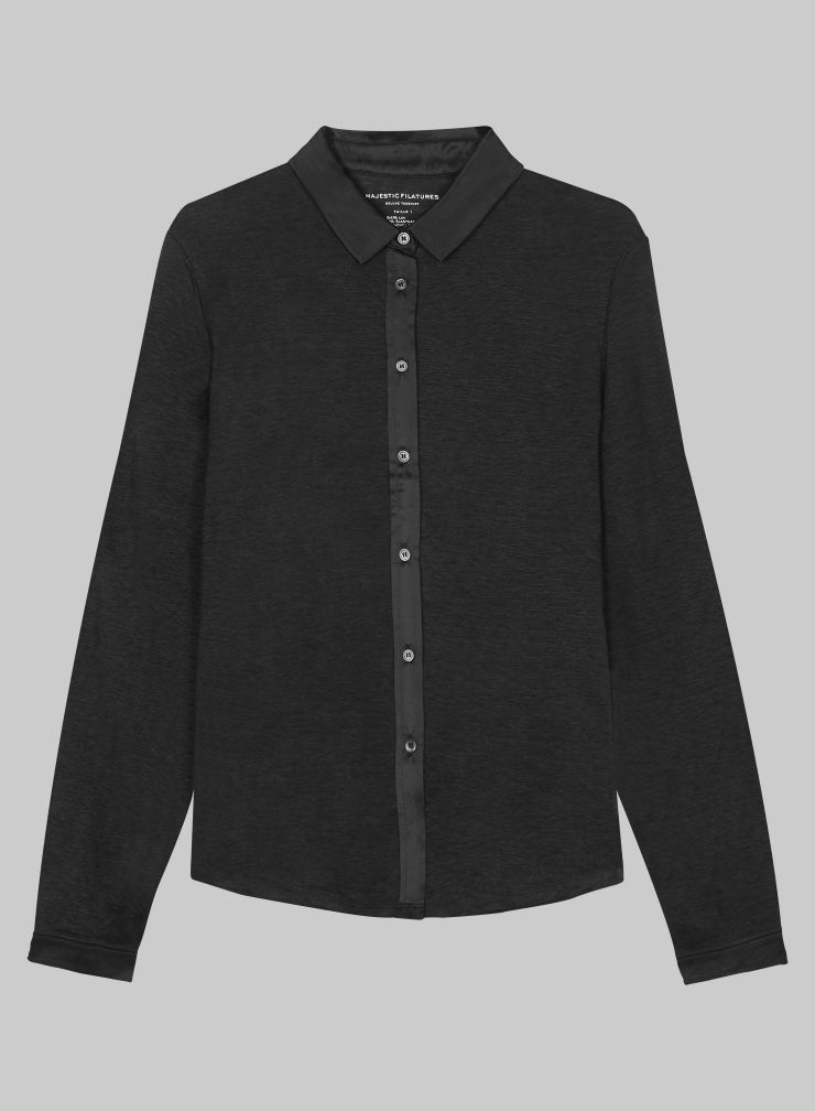 Shirt with silk panel