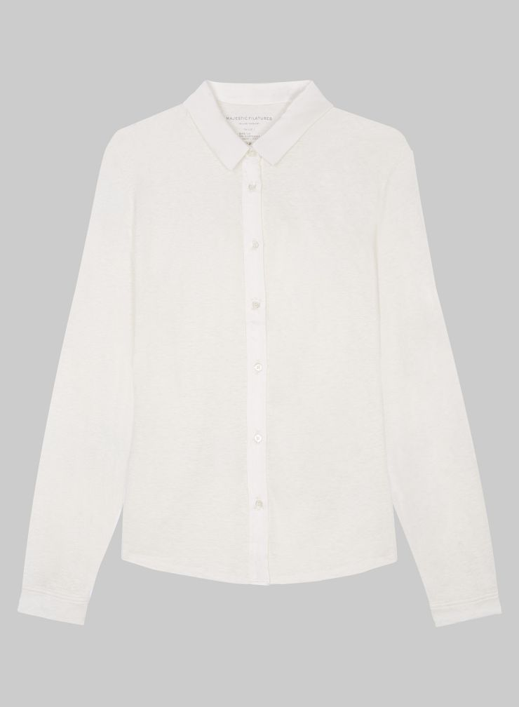 Shirt with silk panel