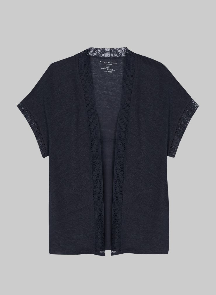Short sleeved Cardigan with lace panel