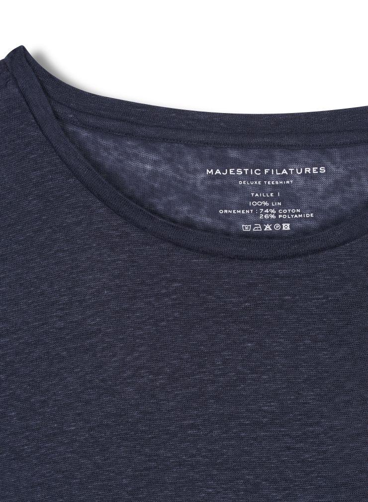 T-shirt col rond empiècement dentelle