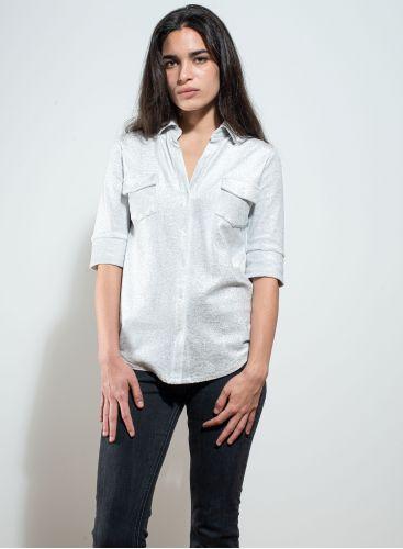 V-neck shimmering Shirt in fine ribs velvet