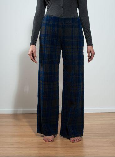 Checked velvet flared Pants
