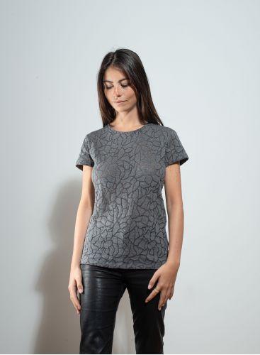 Round neck openwork T-shirt
