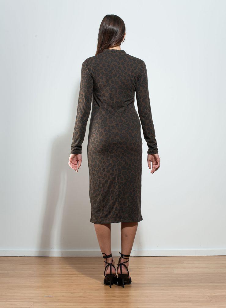 Robe col V imprimé léopard