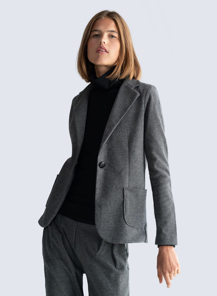 Micro houndstooth 1 button Jacket