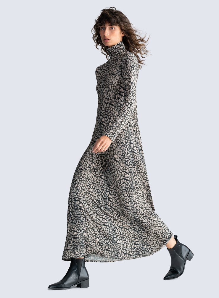 Turtleneck animal print Dress