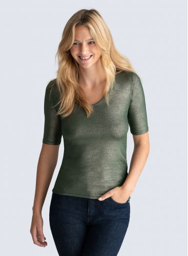 V-neck shimmering T-shirt