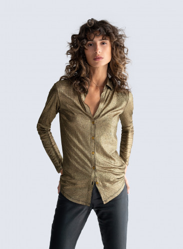 V-neck shimmering ribbed Shirt
