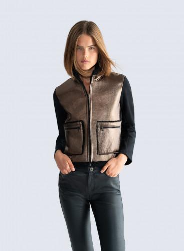 Veste en peau lainée métallisée