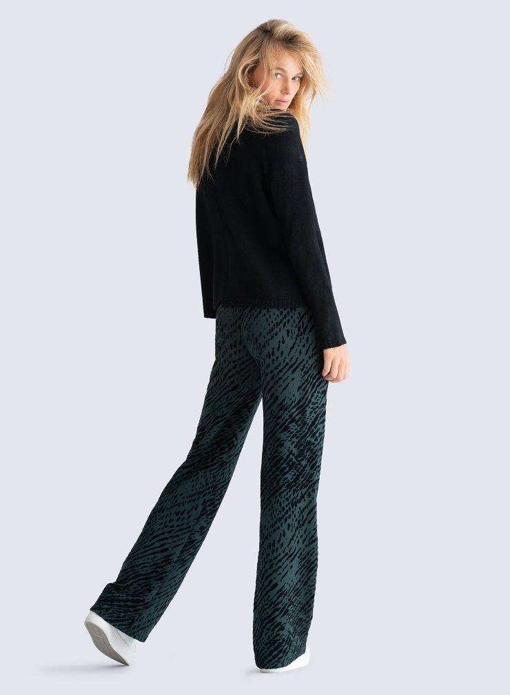 Pantalon imprimé zèbre velours